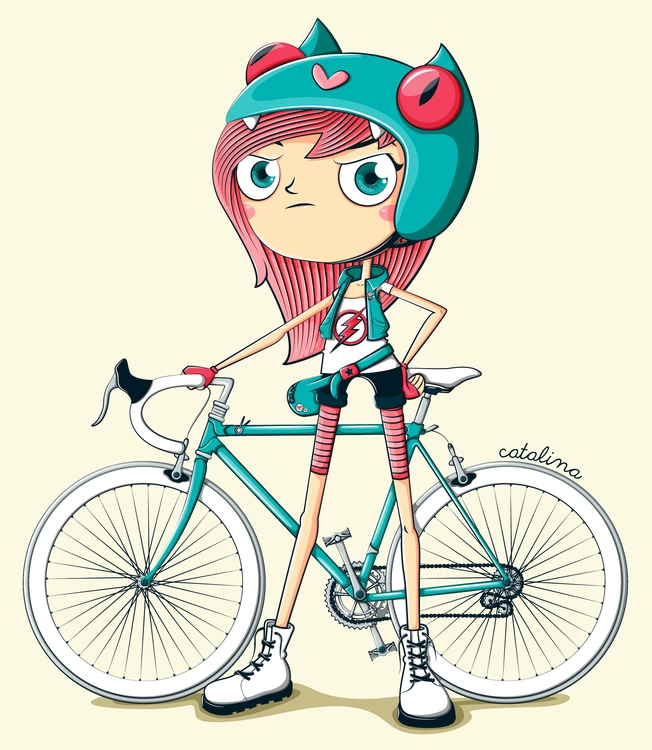 girl, pink, bike, ride, vector - cata-6174   ello