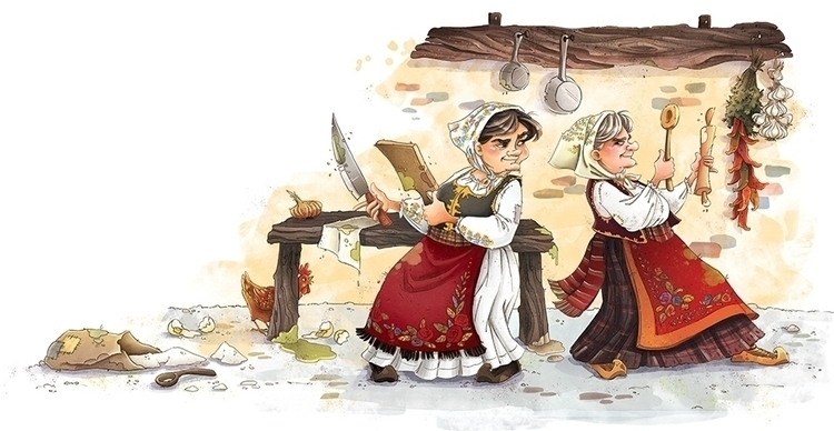 illustration, granny, fight, funny - marinaveselinovic | ello