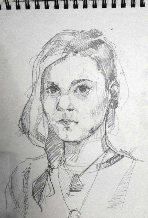 Sketch, Selfportrait - selfportrait - sandraknego | ello