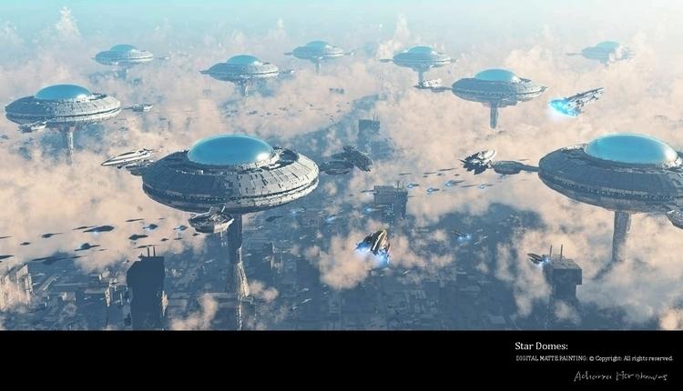 Star Domes - illustration, 3d, mattepainting - acharyapolina | ello