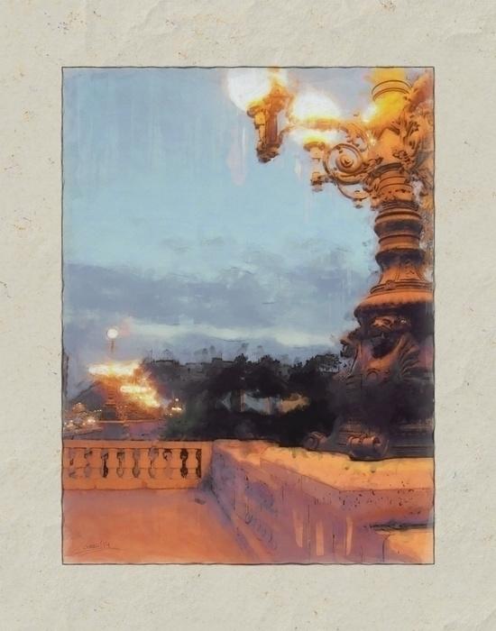 bridge lights - painting, photography - filigranasdigitales | ello