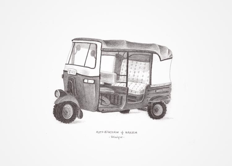 Rickshaw - rickshaw, pencil, car - albatf   ello