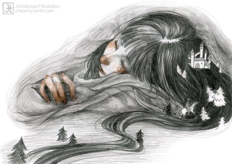 girl, drawing, dream - checanty | ello