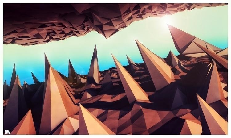 lowpoly, 3dart, scenes, mountains - osamawahid | ello