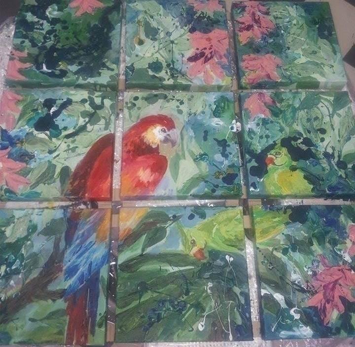 Parrot 9 pieces 30x30 Acrylic c - tanya_vasilenko | ello
