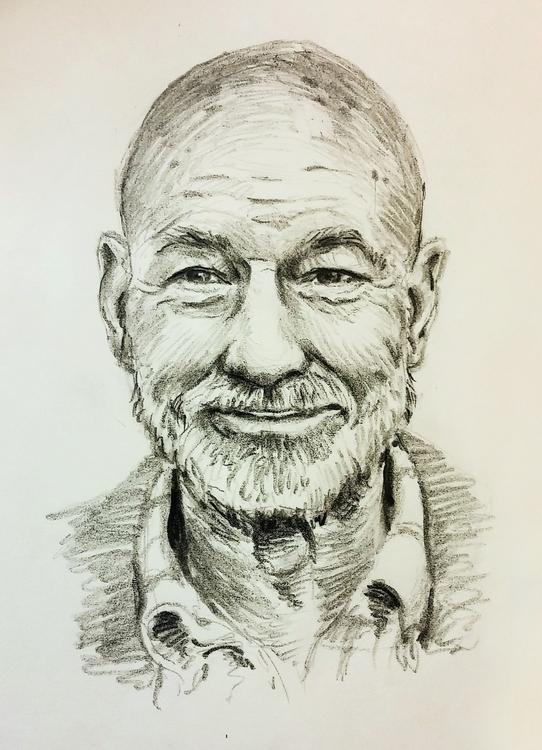 Patrick Stewart - portrait, pencil - prianikn | ello