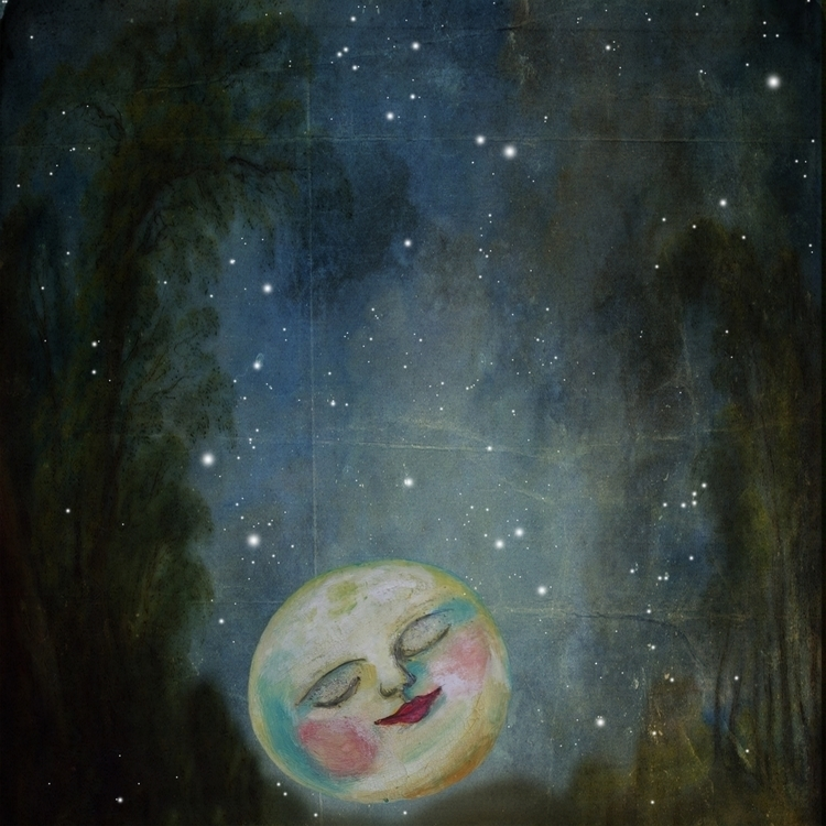 Kiss Moon Goodnight - painting, digitalart - annabelle-1108 | ello