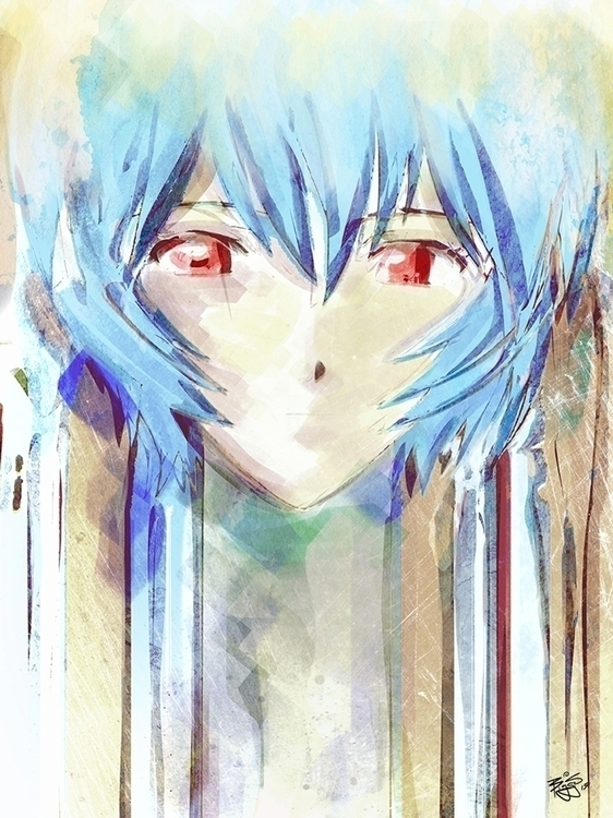 Ayanami Rei Watercolor Digital  - barrettbiggers | ello
