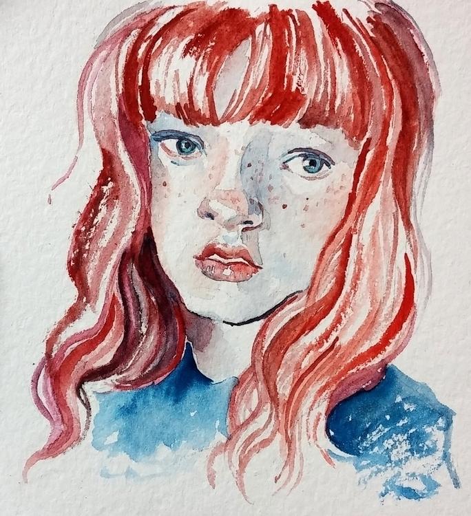 Redhair girl - aquarelle, portrait - prianikn   ello