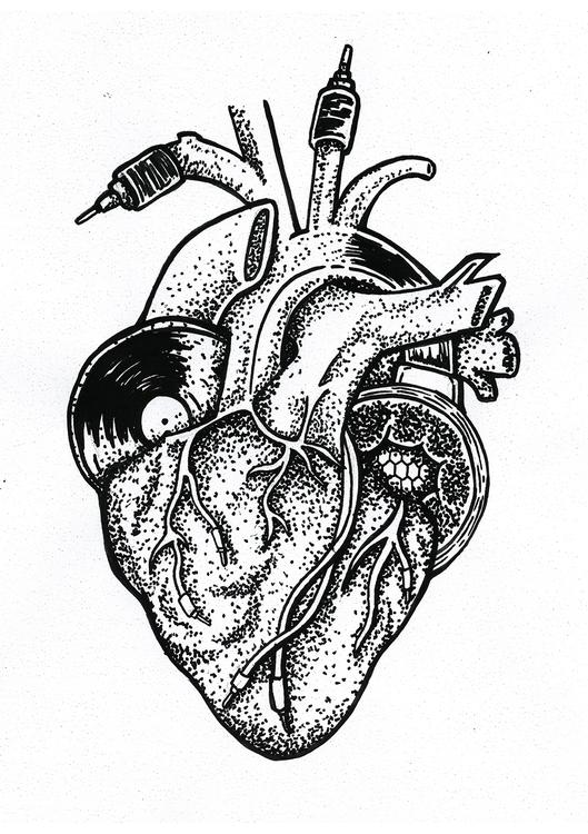 Heart Techno - heart, music, dotwork - oscarcauda | ello