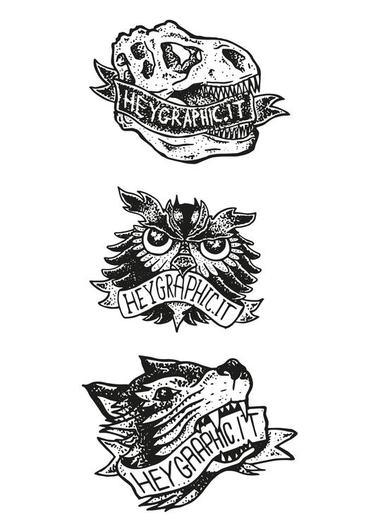 Stickers pt2 - owl, wolf, sticker - oscarcauda | ello