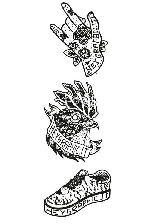 Stickers pt3 - hand, rooster, sneakers - oscarcauda | ello