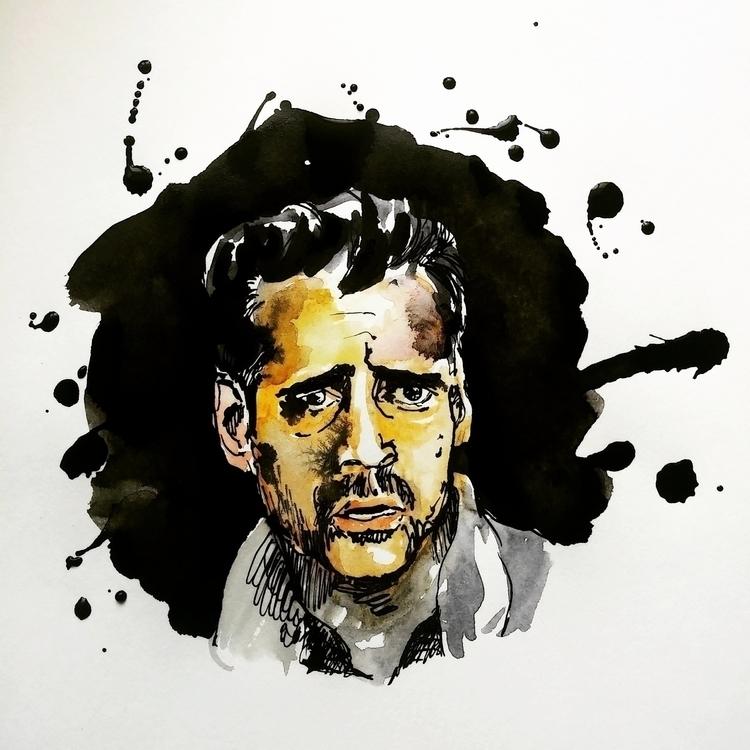 Colin Farrell - aquarelle, ink, portrait - prianikn | ello