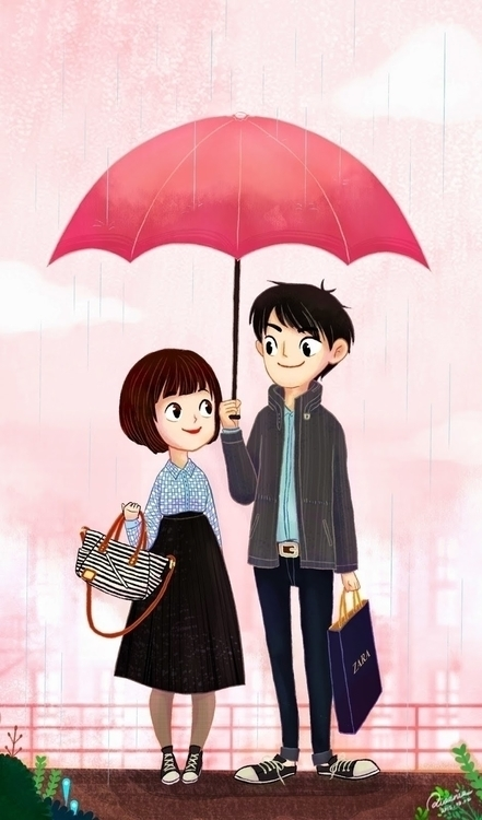 Raining Date - illustration, painting - queenie-4674 | ello