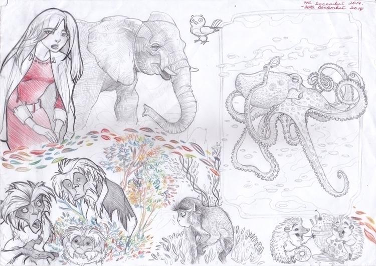 drew sketch Octopus tutorial se - sksk270 | ello