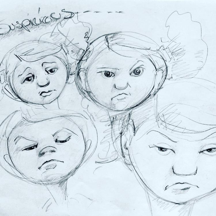 Suspicious - sketchbook, pencildrawing - artfulu | ello