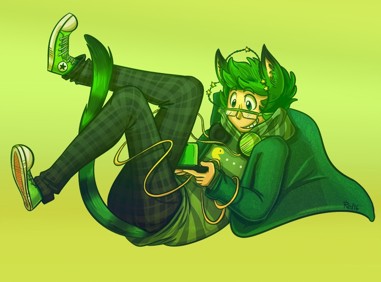 Green - characterdesign, illustration - redthemarten-6210 | ello