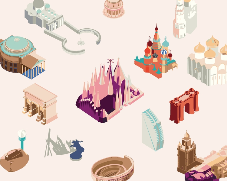 isometric pattern cities - illustration - dashafa | ello