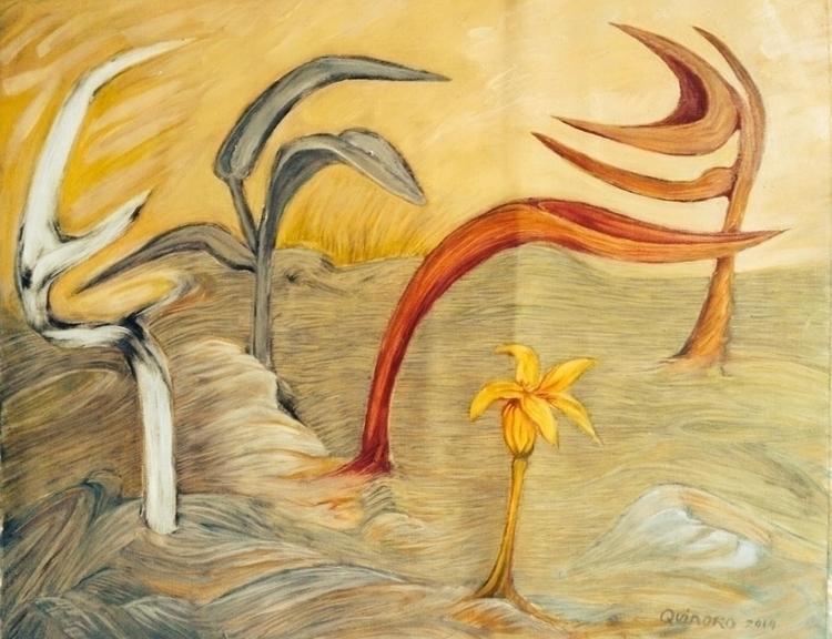 Desert Flower. Oil. Canvas pape - quinoro | ello