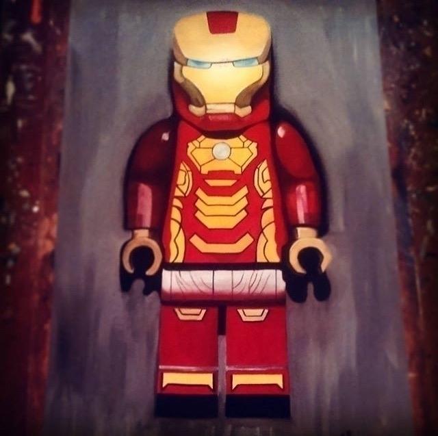 lego iron man acrylic painting - thatillustrator | ello