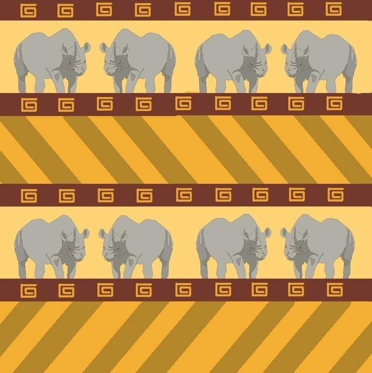 Rhino road - illustration, surfacedesign - irene_rofail | ello