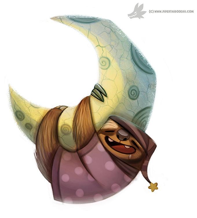 Daily Painting Sloth Moon (OG - 944. - piperthibodeau | ello