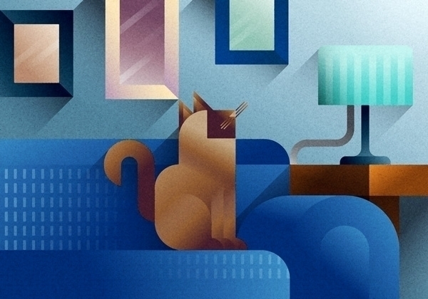 Blue sofa cat - portrait, blue - francescofaggiano | ello