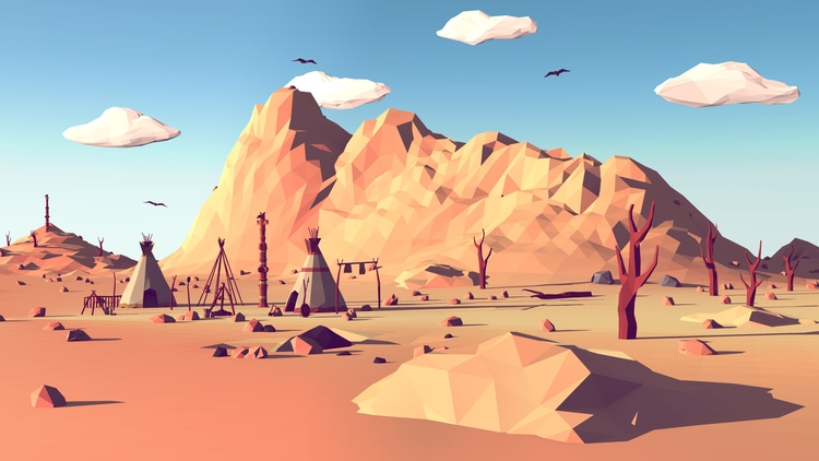 newest poly landscape - illustration - timmiez | ello