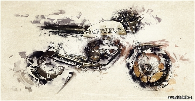 caferacer, watercolor, motorcycle - cerebrate | ello