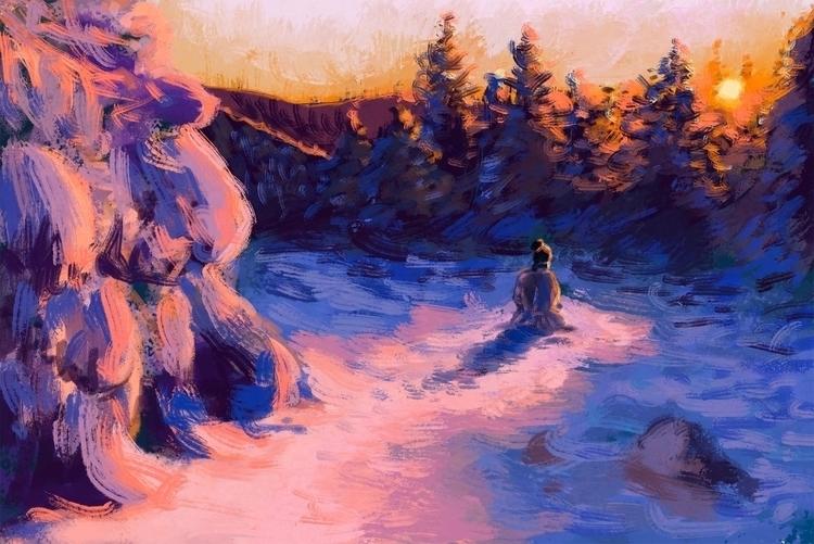 Winter Fire Digital painting of - siberian_sweaters   ello