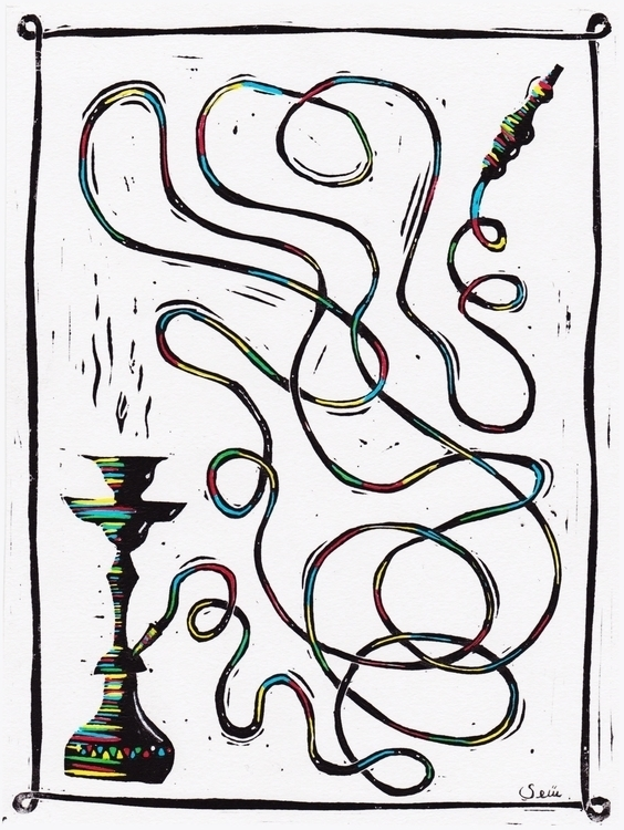 Shisha - illustration, linocut, linoprint - shawy-5487 | ello