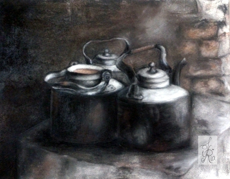 Kettles - drawing, kettle, chalkpastels - fariafiroz26 | ello