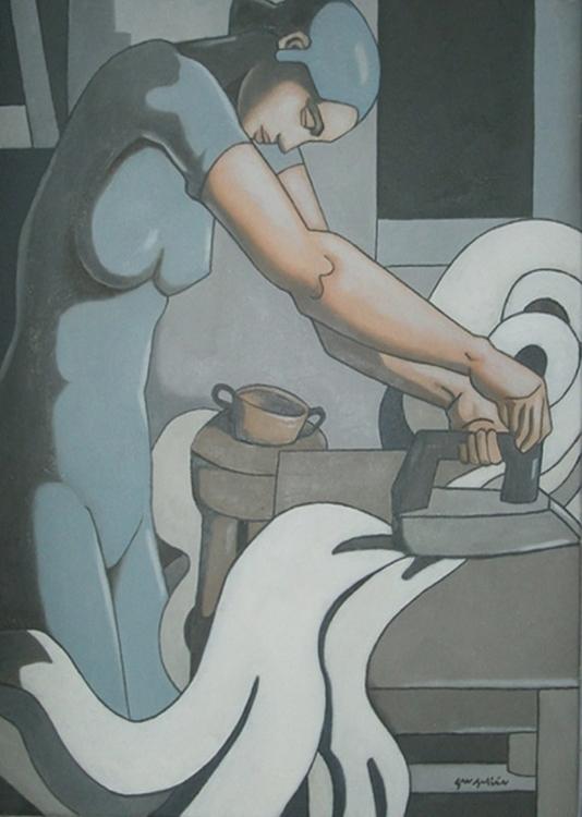 Planchaadora Oleo sobre tela.60 - sanjulian | ello