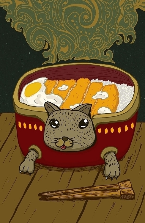 Catsudon - drawing, illustration - bananabits | ello