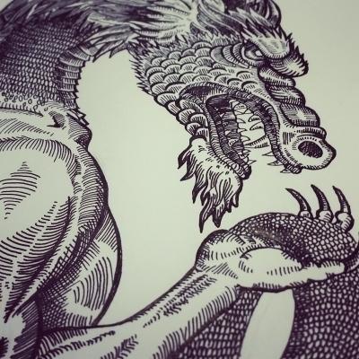 Double serpent - illustration, pen - polkip   ello