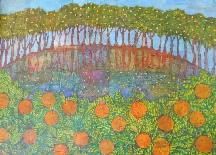Citrus Grove, acrylic collage,  - sabrinajill | ello