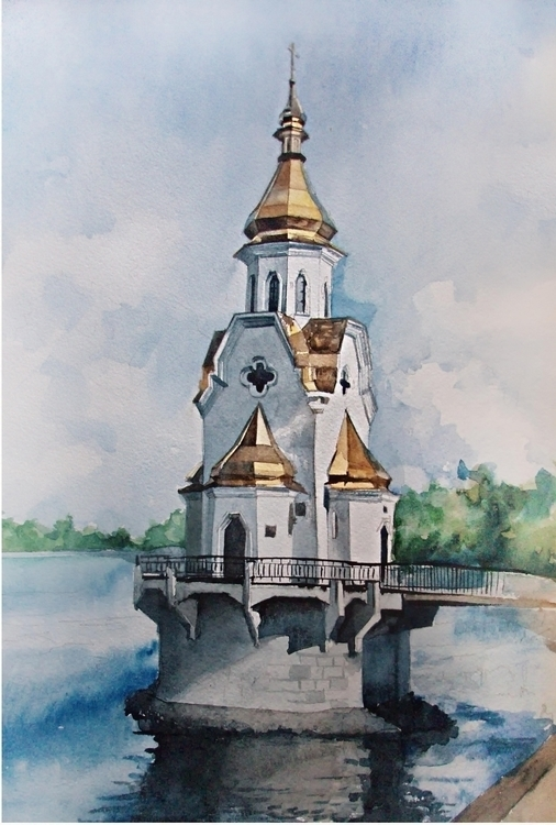 Church water - watercolor, onthewater - malenka-9713 | ello