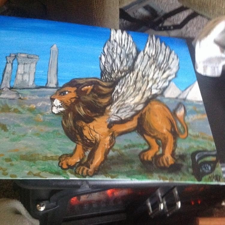 Flying Lion - #flyinglion#acrylic#illustration - kpowell-1395   ello