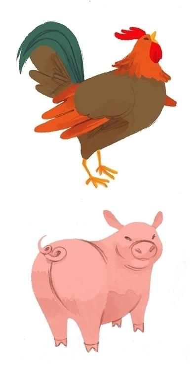 farm, animals, rooster, pig - cmouta | ello