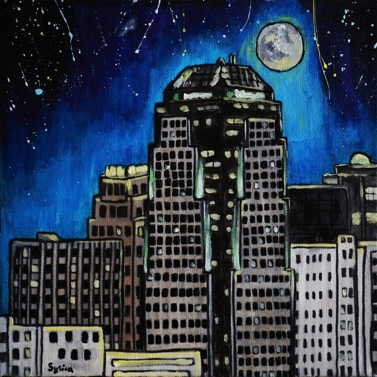 Shreveport Night - painting, environment - sysica | ello
