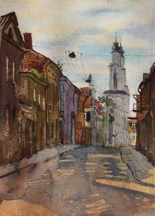 Kaunas - watercolor, watercolour - naktisart | ello