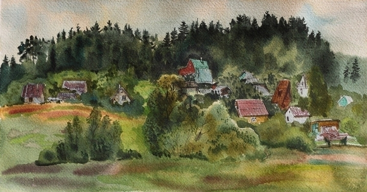 Kaunas - watercolor, watercolour - naktisart | ello