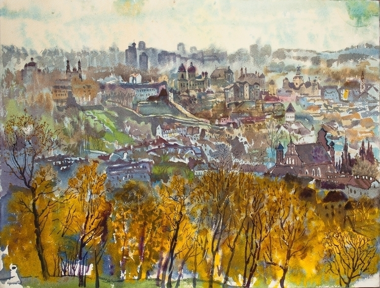 View Vilnius, late autumn - watercolor - naktisart | ello
