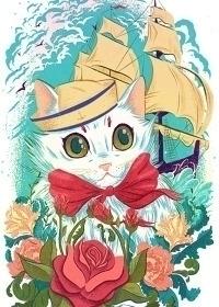 Sailor Kitty - cat, sailor, sailing - onedove | ello