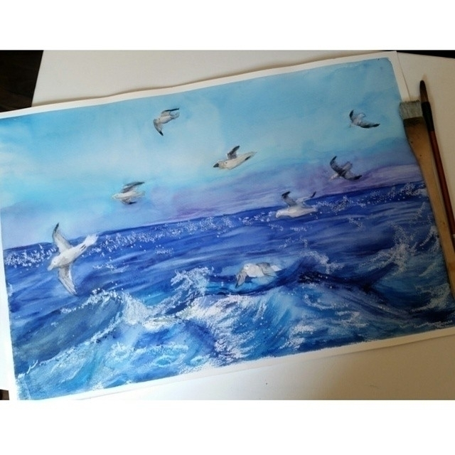 Sea - sea, watercolor, watercolour - artolgash | ello