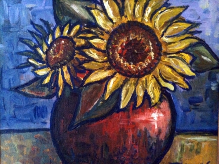 Sunflowers - sunflowers, painting - catsnodgrass | ello