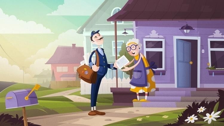 Postcard Scene postman. Illustr - gartman | ello