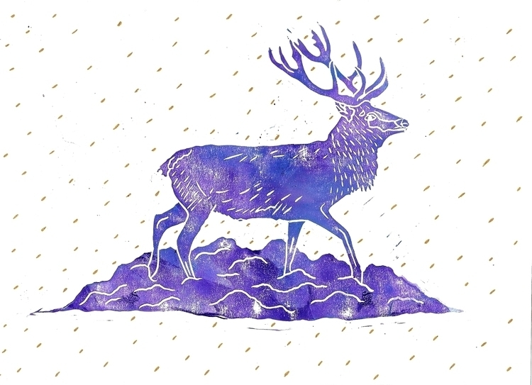 Spirit Deer - linocut, linoleumprint - abigail-1757 | ello