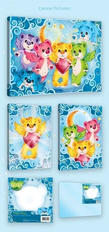 Rainbow Bears - canvas picture  - tenenbris   ello