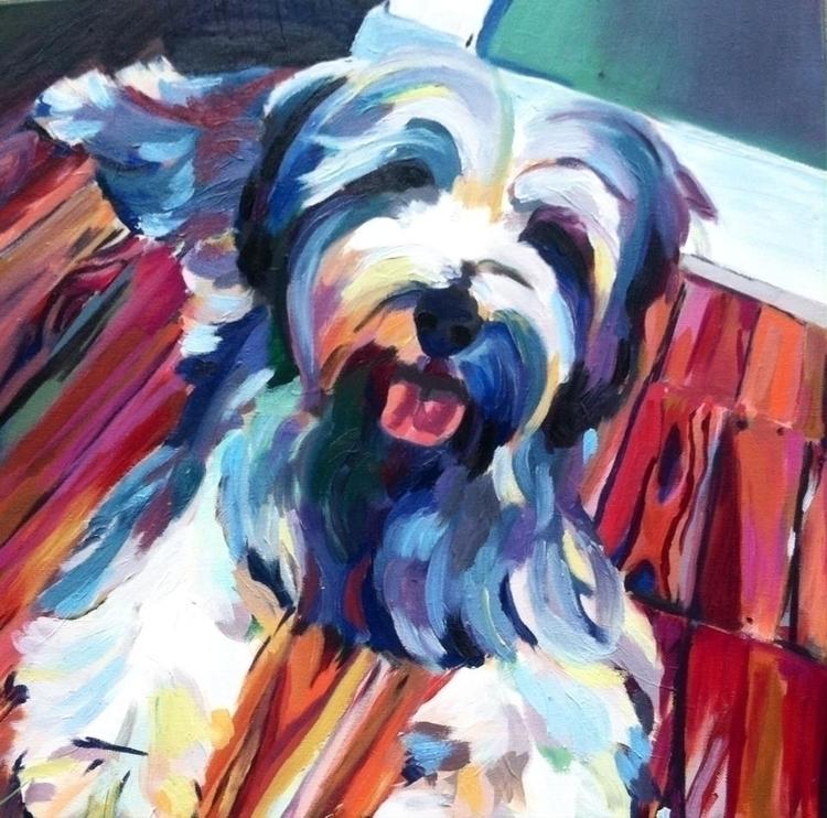 Zoe - rainbow, muppet, dog, oilpainting - alouise-1006 | ello